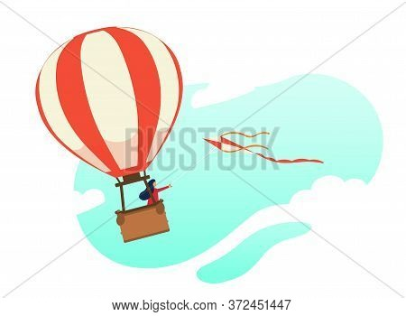 Woman Flying In A Hot Air Balloon With Flying Kite. Modern Flat Character. Stock Vector. Beautiful I