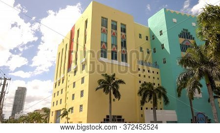 Art Deco District In Miami Beach - Miami, Florida April 10, 2016