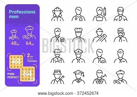 Set Of Mans Professions Vector Illustration. Variety Of Successful Male Occupations Flat Style. Job