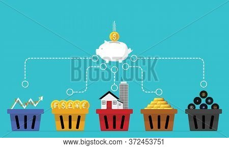 Business Financial Concept Illustrations Of Diversification. Do Not Put All Savings Money In One Bas