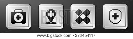 Set First Aid Kit, Map Pointer With Cross Hospital, Crossed Bandage Plaster And Medical Shield With
