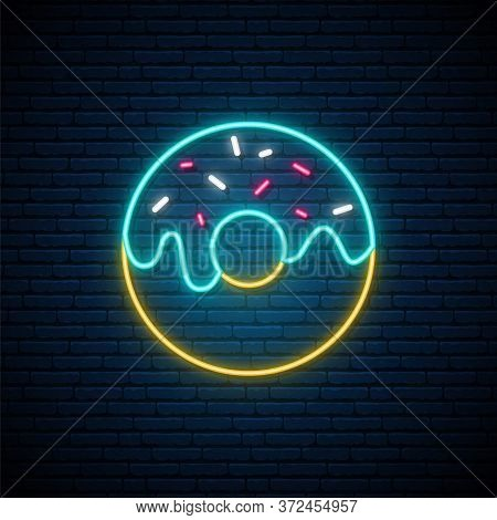 Neon Donut Sign. Bright Glowing Donut Emblem On Dark Brick Wall Background. Neon Signboard. Vector D