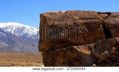 Ancient Petroglyphs At Chalfant Valley In The Eastern Sierra