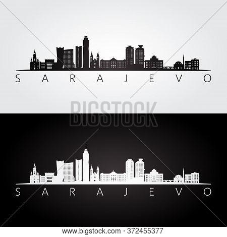 Sarajevo Skyline And Landmarks Silhouette, Black And White Design, Vector Illustration.