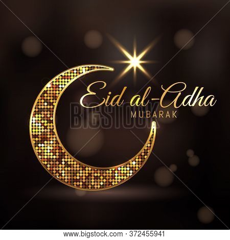 Eid-ul-adha Mubarak Feast Of The Sacrifice Golden Dotted Design Decorated Crescent Moon And Glowing