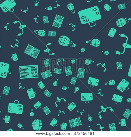 Set Hot Air Balloon, Suitcase, Airport Board And Aircraft Steering Helm On Seamless Pattern. Vector