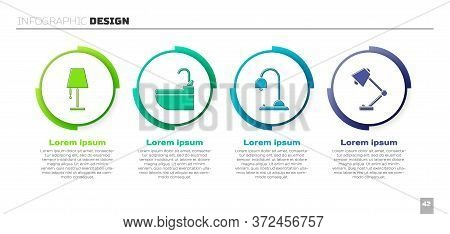 Set Table Lamp, Washbasin With Water Tap, Table Lamp And Table Lamp. Business Infographic Template.
