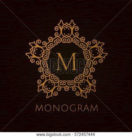 Premium Letter M Logo Icon Vector Design. Royal Flourishes Calligraphic. Luxury Ornament Lines. Vect