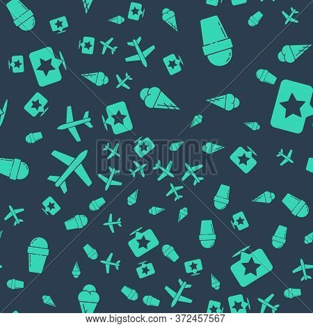 Set Ice Cream In Waffle Cone, Ice Cream In Waffle Cone, Plane And Map Pointer With Star On Seamless