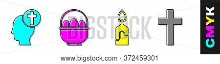 Set Human Head With Christian Cross, Basket With Easter Eggs, Burning Candle And Christian Cross Ico