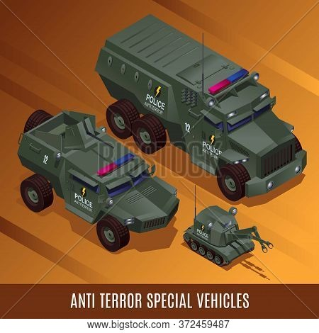 Anti Terror Special Police Vehicles Illustration Isometric Icons On Isolated Background