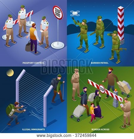 Illegal Migrants Border Patrol. Border Service, 2x2 Illustration Isometric Icons