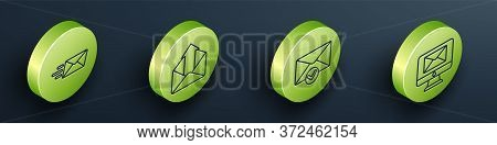 Set Isometric Express Envelope, Outgoing Mail, Envelope And Check Mark And Monitor And Envelope Icon