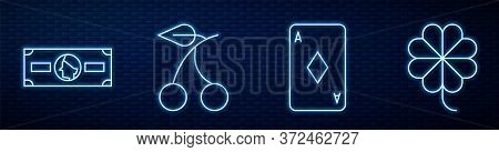 Set Line Playing Card With Diamonds, Stacks Paper Money Cash, Casino Slot Machine With Cherry And Ca