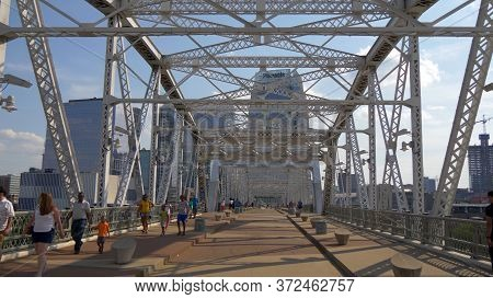 John Seigenthaler Pedestrian Bridge To Nashville - Nashville, Usa - June 17, 2019