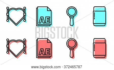 Set Line Magnifying Glass, Heart With Bezier Curve, Ae File Document And Eraser Or Rubber Icon. Vect