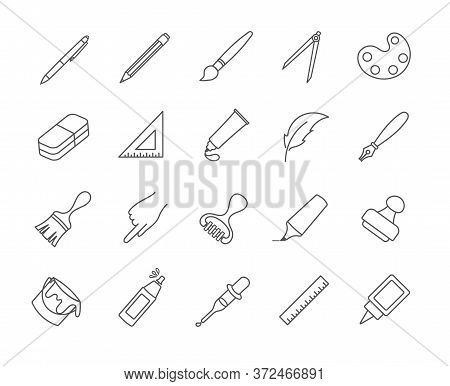 Large Set Of Drawing And Art Icons With Paint, Brushes, Pens, Pencils, Ruler, Set Square And Compass