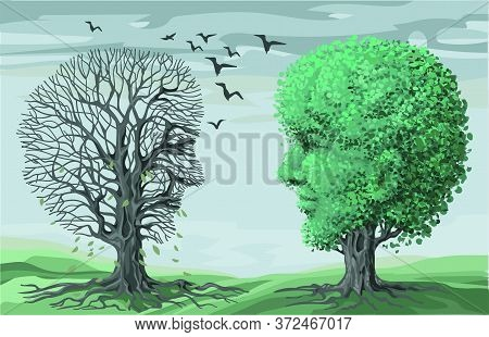 Vector Illustration Of Philosophy Of Life Symbol. Two Opposing Contrasting Trees In The Shape Of Hum