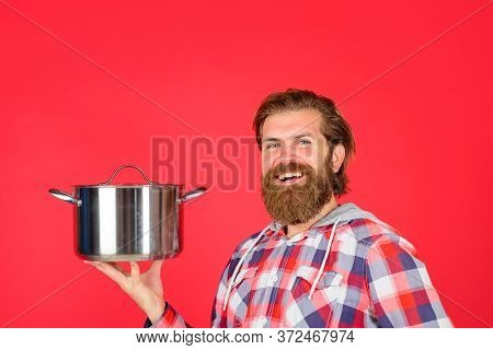 Man With Saucepan. Happy Chef With Cooking Pot. Saucepan. Cooking. Kitchenware. Cooking Utensils. Co