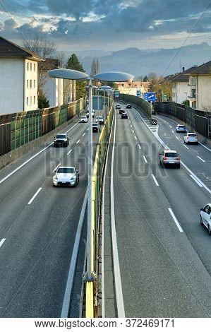 Traffic On A6 Motorway Which Passes Through Bern, Switzerland