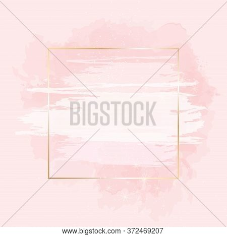 Trendy Simple Flat Lay Design Vector Background. Gold Line Art, Watercolor Style Pink Texture Splash
