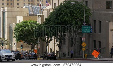 Street View At Bunker Hill In Downtown Los Angeles - Los Angeles, Usa - March 18, 2019