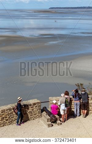 Mont-saint-michel, France - September 2, 2019: This Is An Observation Deck Overlooking The Bay At Lo