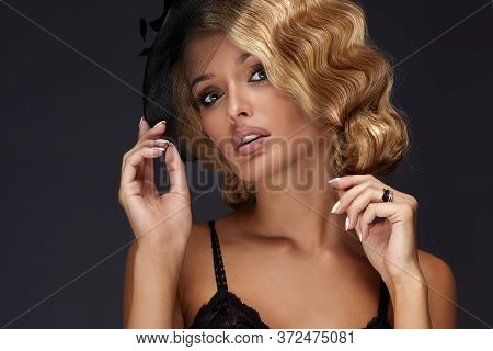 Sensual Portrait Of Beautiful Young Blonde Lady.