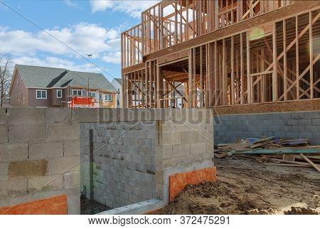 Construction Home Wooden Framing On Framework On Stick Built Home Under Construction The Framing