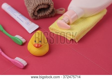 Spa And Bath Concept. Baby Bath Set. Cute Child Spa Composition On Bright Pink Background. Sope Bott