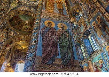 St Petersburg, Russia - 23.09.2017: Ceiling Of The Church Of The Savior On Spilled Blood. It Is An A