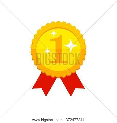 First Place Medal - Golden Award With 1 Digit, Red Ribbon And Brilliance Light Stars - Vector Flat I