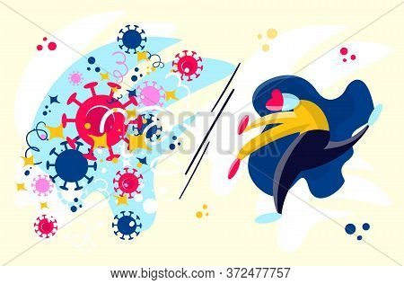 Stock Vector Illustration Of Coronavirus Second Wave Concept. Brave Woman, Doctor Or Business Woman