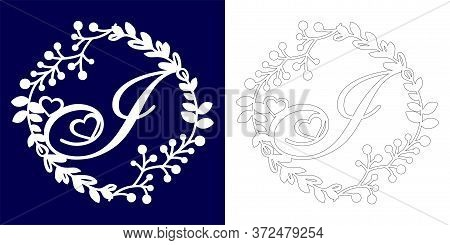 Vector Wedding Initial Monogram For Laser Cutting. Letter I Of The Decorative Monogram In A Floral F