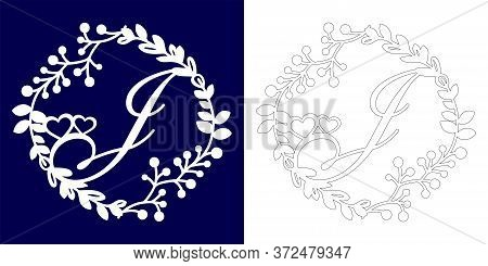 Vector Wedding Initial Monogram For Laser Cutting. Letter J Of The Decorative Monogram In A Floral F