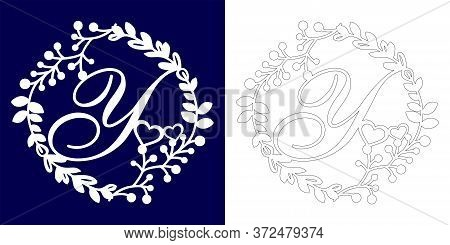 Vector Wedding Initial Monogram For Laser Cutting. Letter Y Of The Decorative Monogram In A Floral F