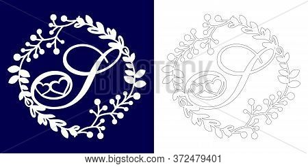 Vector Wedding Initial Monogram For Laser Cutting. Letter S Of The Decorative Monogram In A Floral F