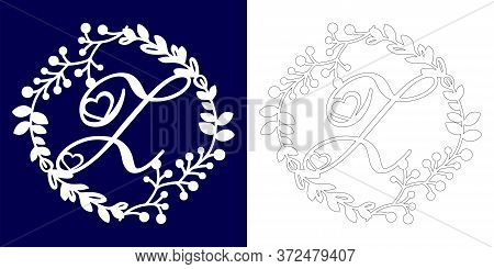 Vector Wedding Initial Monogram For Laser Cutting. Letter Z Of The Decorative Monogram In A Floral F