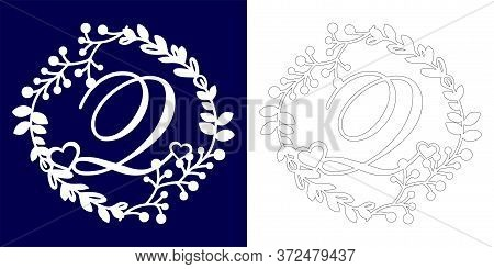 Vector Wedding Initial Monogram For Laser Cutting. Letter Q Of The Decorative Monogram In A Floral F