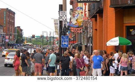 Nashville Broadway Is A Busy Place In The City - Nashville, Usa - June 17, 2019