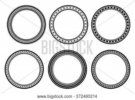 Set Of Six Circle Frames, Round Borders For Your Design.