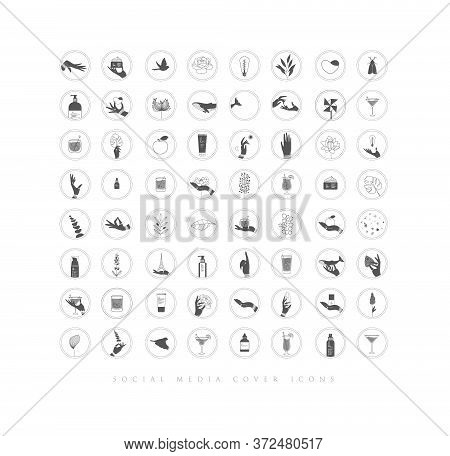Hands, labels, cosmetics bottles, decorative symbols, branches, flowers, animals and various objects in minimalist graphic style.
