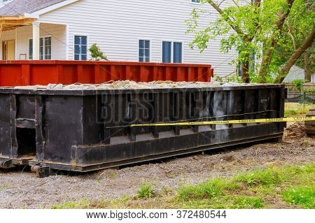 Rubbish Removal Container Loaded Dumpster A Construction Home Renovation Building