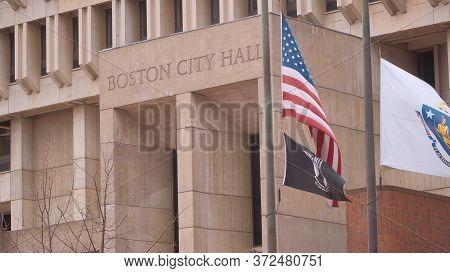 Boston City Hall At Congress Street - Boston. Usa - April 5, 2017