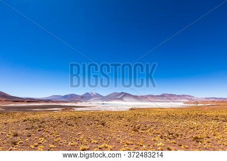 Atacama Desert, Chile. Salar Aguas Calientes. Lake Tuyacto. South America.