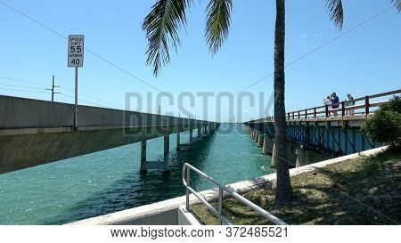 Famous Seven Mile Bridge In The Keys Of Florida - Key West, Florida April 13, 2016
