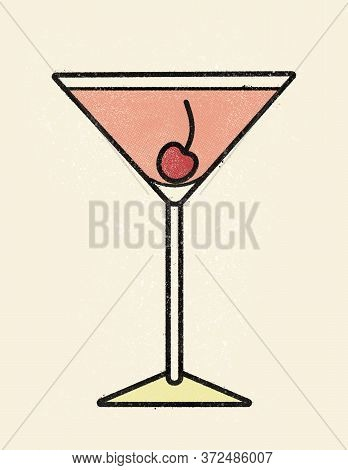 Classic Martini Manhattan Cocktail With Maraschino Cherry In Old School Print Halftone Dotted Offset