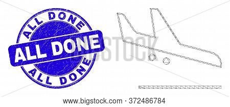 Web Mesh Airplane Landing Icon And All Done Stamp. Blue Vector Round Distress Seal Stamp With All Do