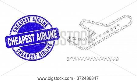 Web Carcass Airplane Takeoff Icon And Cheapest Airline Stamp. Blue Vector Round Distress Seal Stamp
