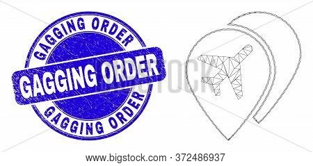 Web Carcass Airport Map Markers Icon And Gagging Order Stamp. Blue Vector Round Textured Seal With G